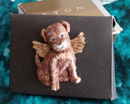 VINTAGE HEAVENLY ANGEL DOG PIN 'NEVER WORN' MINT IN BOX