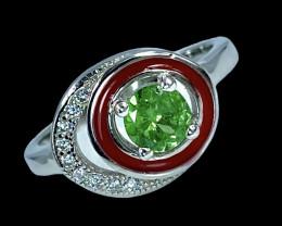 0.45ct. Artistic Natural Tsavarite Garnet Gemstone. Silver925 Ring.DTS290