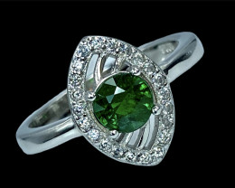 0.98ct. Elegant Natural Tsavarite Garnet Gemstone. Silver925 Ring.DTS292