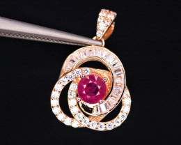 Attractive Natural Ruby, CZ & 925 Fancy Rose Gold Sterling Silver