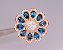 Gorgeous Natural London Topaz, CZ & 925 Fancy Rose Gold Sterling Silver