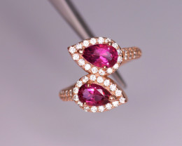 Gorgeous Natural Pink Topaz, CZ & 925 Stylish Rose Gold Sterling Silver