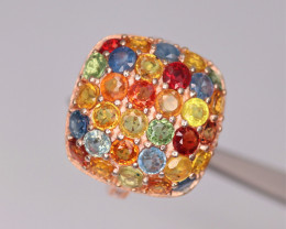 Gorgeous Natural Multi Sapphire, CZ & 925 Fancy Rose Gold  Sterling Silver