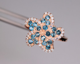 Attractive Natural Topaz, CZ & 925 Fancy Rose Gold Sterling Silver