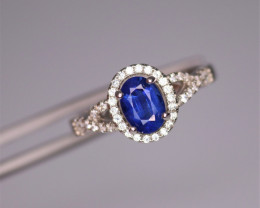 Fabulous Natural Kaynite, CZ & 925 Fancy Sterling Silver Ring