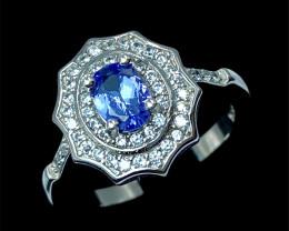 0.58ct. Graceful Natural Tanzanite Gemstone Silver925 Ring.DTN307