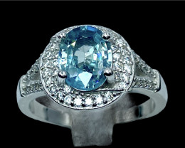 2.35ct. Aesthetic Natural Blue Zircon Cambodia Silver925 Ring .DBS308