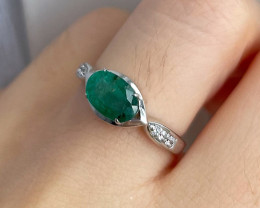 Natural Zambian Emerald Gold Over Sterling Silver F35