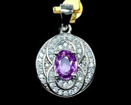 0.99ct. Elegant Purplish Pink Spinel Gemstone Silver925 Pendant.DSP311
