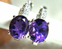 24.3 Tcw. Sterling Silver White Gold Plated, Purple Amethyst Earrings - Gor