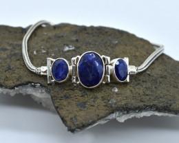 BLUE SAPPHIRE BRACELET NATURAL GEM 925 STERLING SILVER AB128