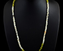 Genuine 109.00 Cts Peridot & Multicolor Moonstone Beads Necklace