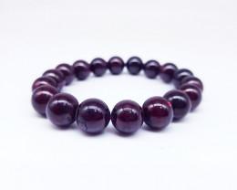 Natural Red Garnet Beads Bracelet 6 Inch