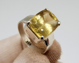 Natural Yellow Citrine 31.10 Carats Hand Made Ring