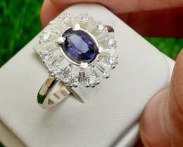 Natural Iolite 925 Silver Ring