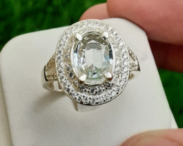 Natural Aquamarin 925 Silver Ring