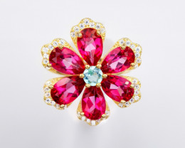 Coated Pink Topaz Ring