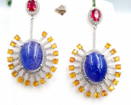 Natural Sapphire & Tanzanite Cabs  Earrings