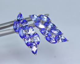 Natural 16Pis Tanzanite 925 Silver Earrings