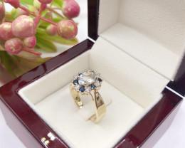 Natural Excellent Multi Diamond Sapphire Aquamarine 9K Yellow gold Ring