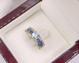 Excellent White Diamond Ceylon Sapphire Aquamarine 9K Yellow gold Ring