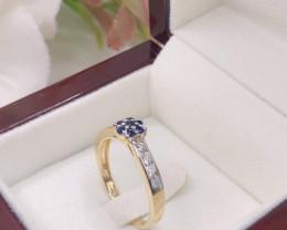 Excellent White Natural Diamond Ceylon Sapphire 9K Yellow gold Ring