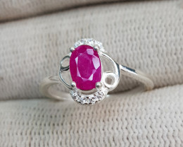 Natural Gorgeous Ruby 9.55 Carats 925 Silver Ring
