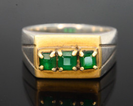 35.0 Ct Silver Ring ~With AAA Clarity Swat Emerald Stone