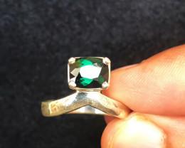 20.40 Ct Natural Dark Greenish Blue Transparent Tourmaline Gem Ring