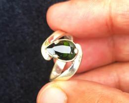 18 Ct Natural Dark Green Transparent Tourmaline Gem Ring Solid Silver