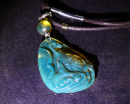 Hand Carved Chinese Koi Clear Sky Blue Amber .925 Sterling Silver Necklace