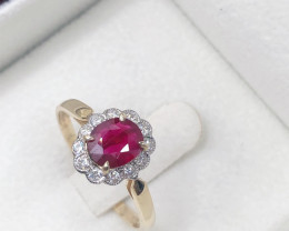 14K Yellow gold  Halo Oval Red Ruby, cluster white diamond 14K Yellow gold