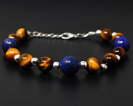 Genuine 85.00 Cts Tiger Eye & lapis Lazuli Beads Bracelet