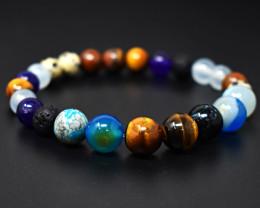 Genuine 119.00 Cts Mix Gem Stretchable Beads Bracelet