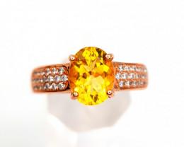 Natural Gold Plated Tourmaline Ring