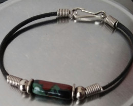VINTAGE PAINTED BEAD AND LEATHER BRACELET 7 1/2 INCH SIZE