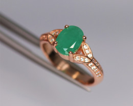 Gorgeous Natural Emerald, CZ & 925 Fancy Rose Gold Sterling Silver Ring