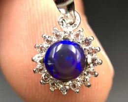 Beautiful Opal & CZ Silver Pendant