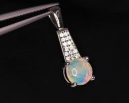 Attractive Natural Fire Opal, CZ & 925 Fancy Sterling Silver