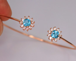 Gorgeous Natural Apatite, CZ & 925 Fancy Rose Gold Sterling Silver
