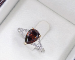 1.10 Cts Red Diamond Solitaire 18K  gold Ring, Set with diamond to shoulder