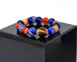 Genuine 241.00 Cts Onyx & Tiger Eye Stretchable Bracelet