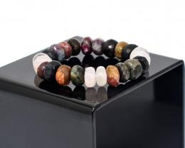 Genuine 329.00 Cts Rose Quartz & Tourmaline Stretchable Bracelet