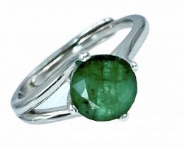 Ct 1.36ct. Graceful Natural Emerald Gemstone. Silver925 Ring.DEM314