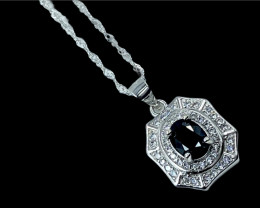 1.16ct.Gorgeous Blue Sapphire Gemstone Silver925 Pendant with Chain.DBS337