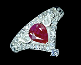 0.91ct. Crowning Ruby Untreated Mozambique Gemstone Silver925 Ring.DRB316