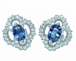 0.97ct.Fanciable Natural Spinel Sparkiling Gemstone Silver925Earring.DSP335