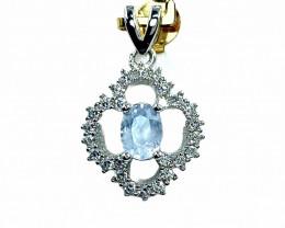 0.81ct.Aesthetic Natural White Sapphire Gemstone Silver925 Pendant.DWS334