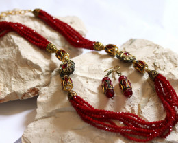 Unique and Custom Curated Hand Made Necklace & Earrings Set  RT-154