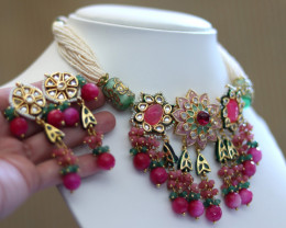 Unique and Custom Curated Hand Made Necklace & Earrings Set  RT-158